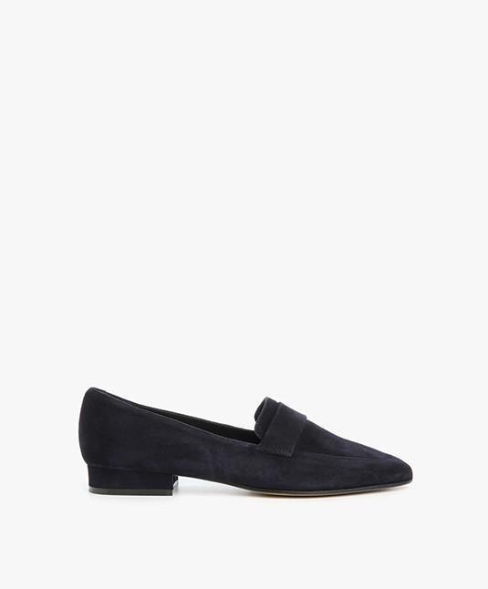 Panara Suede Slip On with Flat Heel - Dark Blue