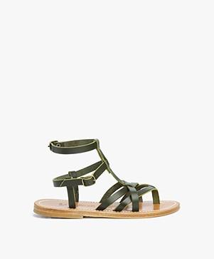 K. Jacques St. Tropez Larissa Studded Sandals - Khaki