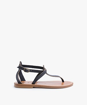 K. Jacques St. Tropez Buffon Leather Sandals - Navy