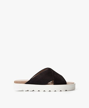 Filippa K Misty Leather Slides - Black/Off-white
