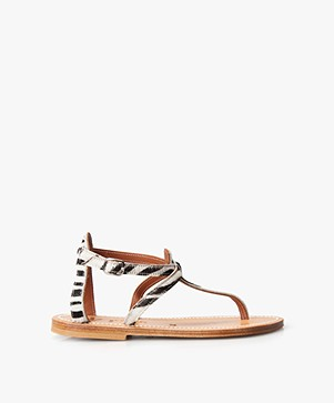 K. Jacques St. Tropez Buffon Printed Leather Sandals - Horsy Zebre