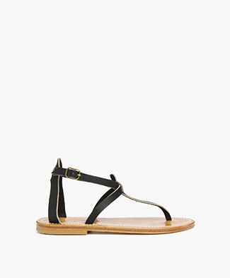 K. Jacques St. Tropez Buffon Leather Sandals - Black