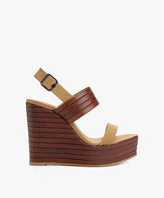 Castañer Velma Wedges - Brown/Camel