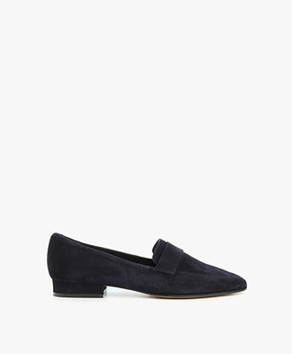 Panara Suede Slip On with Flat Heel - Dark Blue