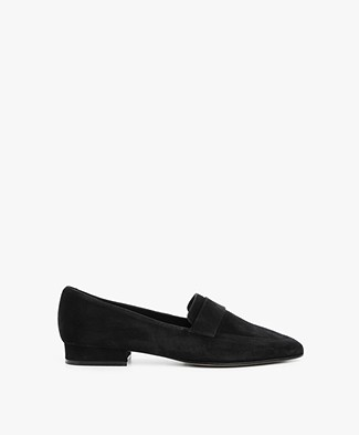 Panara Suede Slip On with Flat Heel - Black