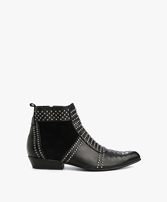 Anine Bing Charlie Boots with Silver Studs - Black