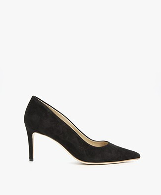 Feraggio Suede Pumps Low - Deep Black