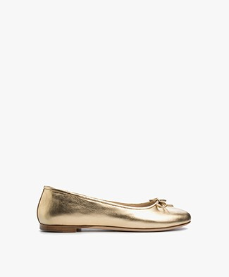 Anine Bing Leather Ballet Flats - Gold