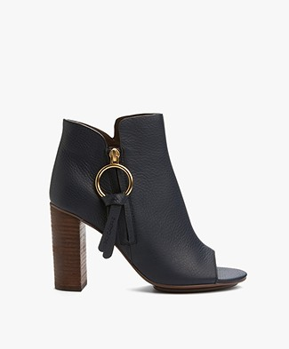 See by Chloé Dustin Leather Ankle Boots - Baltico/Blue
