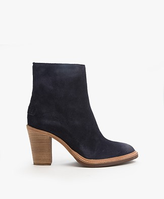 Shabbies Suede Heeled Ankle Boots - Navy