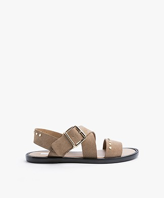 Closed Cross Suede Sandals - Camel