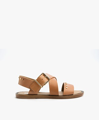 Closed Cross Leather Sandals - Natural