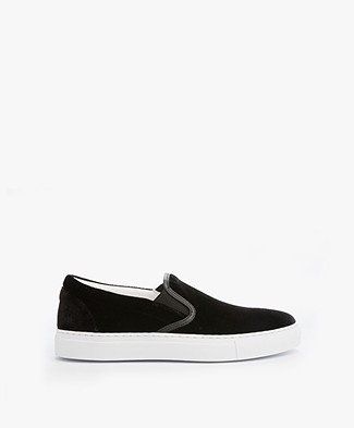 HUGO Cleah Slip-on Fluwelen Sneakers - Zwart