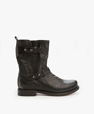 Rag & Bone Moto Leather Boots - Continuous Black