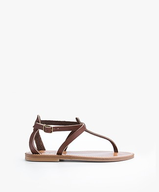 K. Jacques St. Tropez Buffon Leather Sandals - Marron