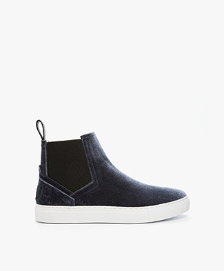 HUGO Erin High Slip-on Sneakers in Velvet - Dark Grey