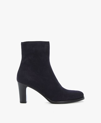 Panara Suede Ankle Boots with Heel - Dark Blue