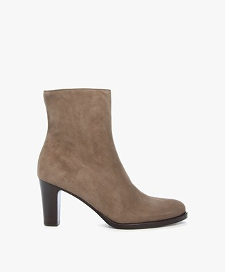 Panara Suede Ankle Boots with Heel - Taupe