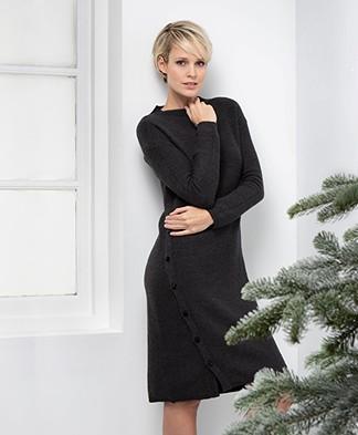 Pomandère Knitted Dress in Virgin Wool and Linen - Dark Grey