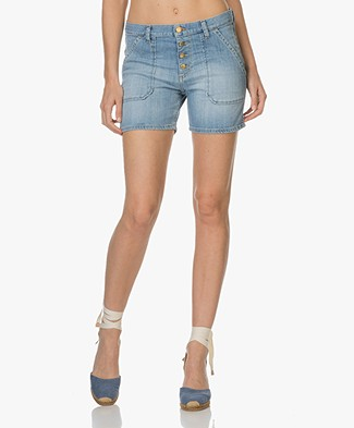Ba&sh Mira Katoenen Denim Short - Light Used