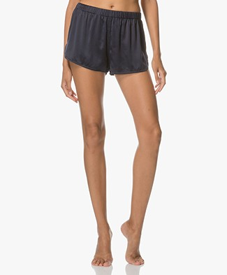 extreme cashmere Bloom Silk Shorts - Navy
