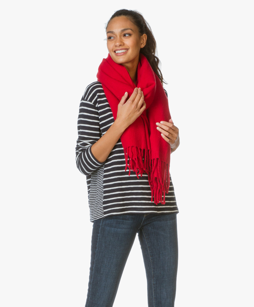 closed oversized fringe scarf in wool blend ketchup