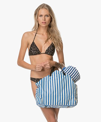 By Malene Birger Maggia Beach Bag - Petrol/Off-white