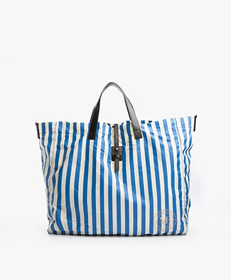 By Malene Birger Maggia Beach Bag - Blue/Off-white