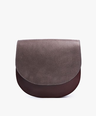 Closed Cross Saddle Bag - Grey/Burgundy