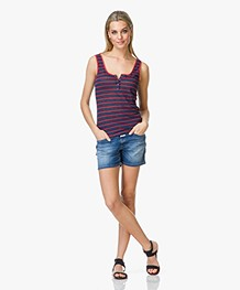 Frame Le Nautical Henley Tanktop - Donkerblauw/Rood Gestreept