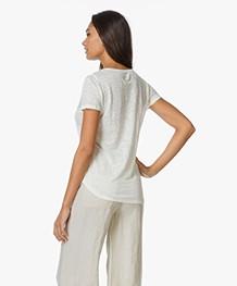 Majestic Linnen V-hals T-shirt - Milk