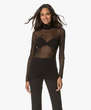 no man's land Tulle Turtleneck Shirt - Core Black
