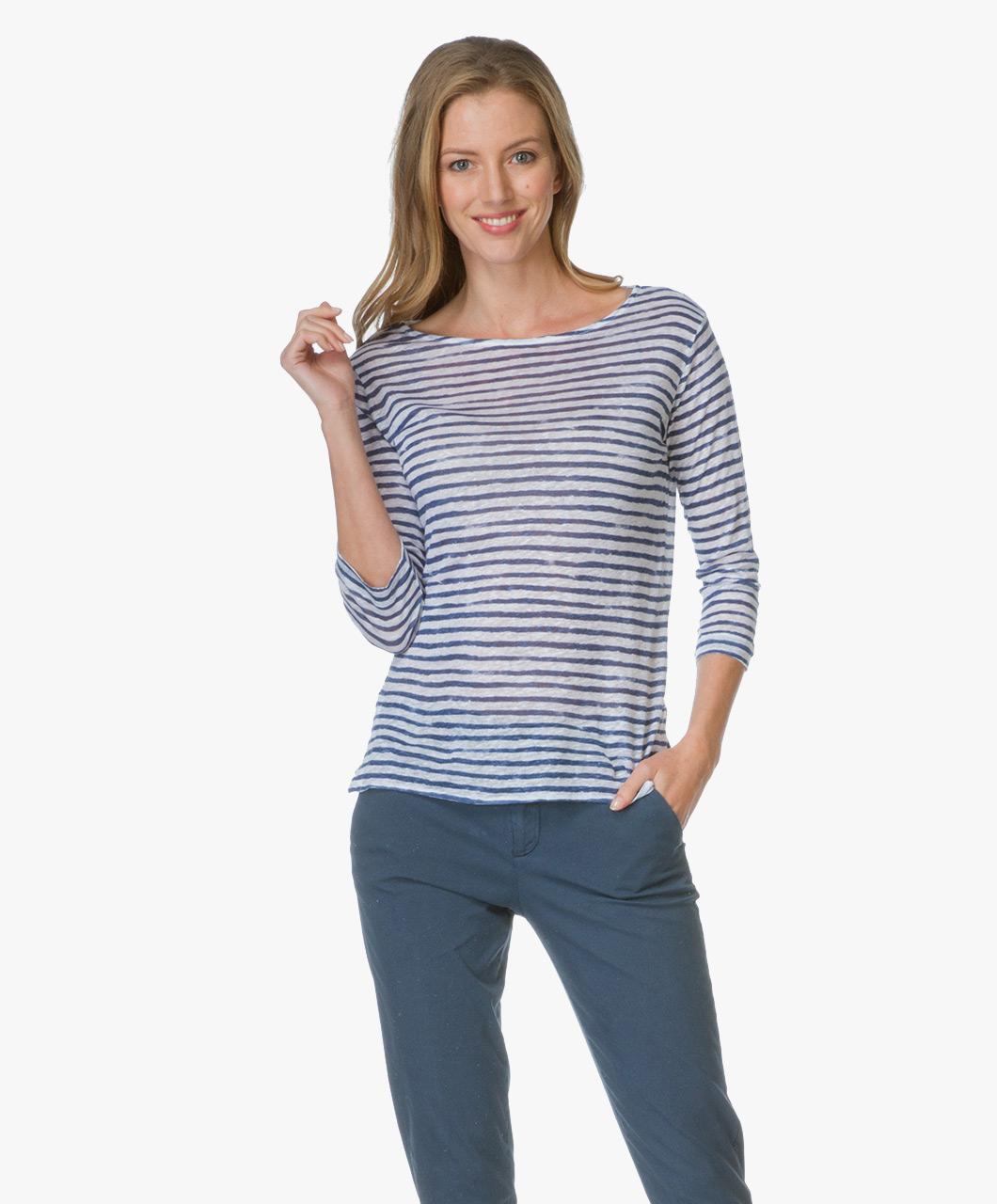 Majestic Striped Linen Long Sleeve Shirt - Blanc/Indigo - e17-06/07 ...