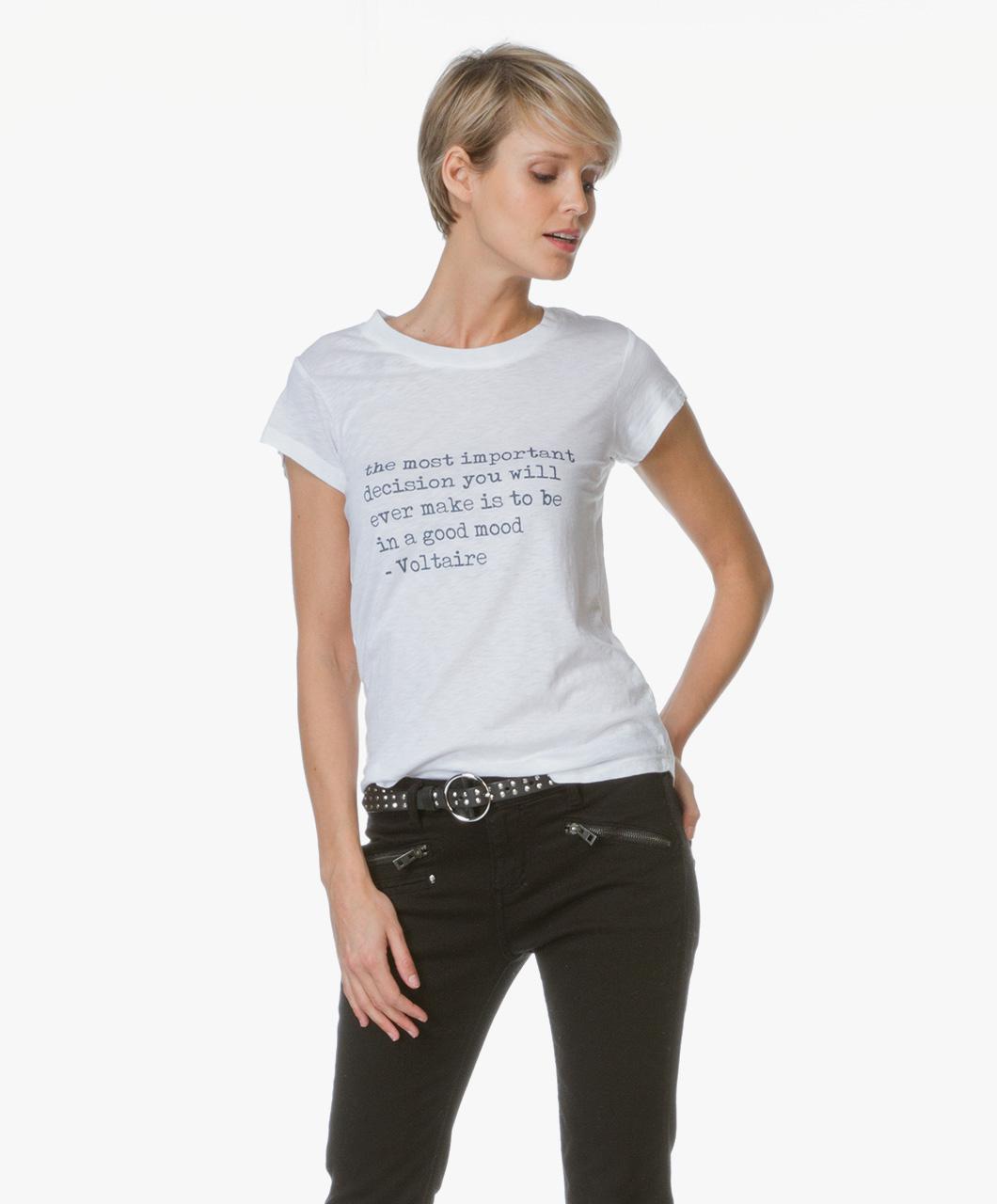 Zadig et voltaire skinny slub print t shirt white for What is a slub shirt