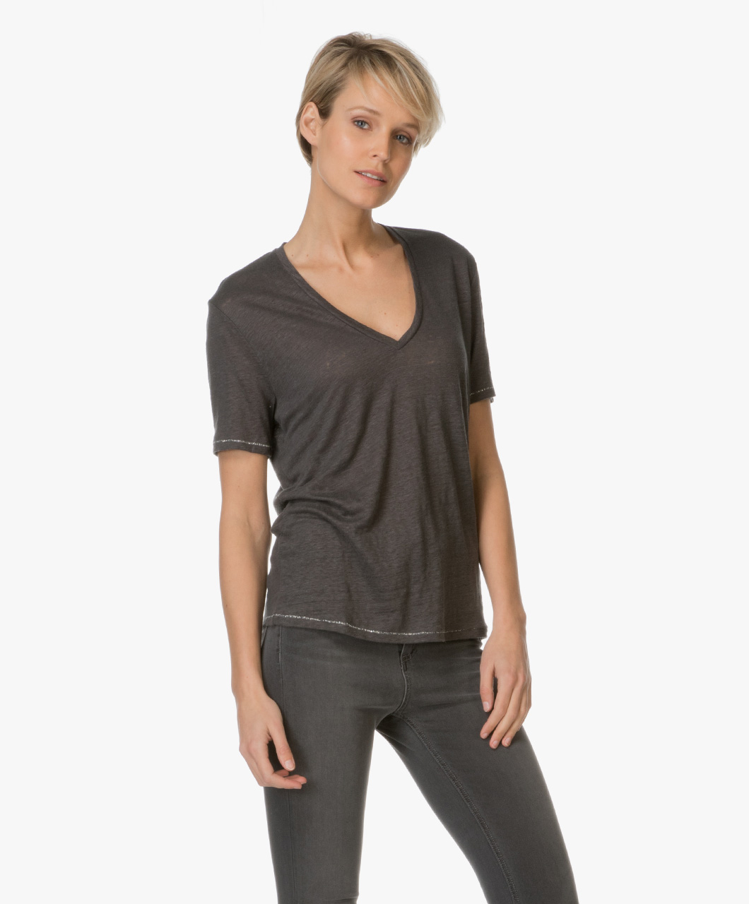 drykorn casa linen t shirt antracite casa 502108 2 antra. Black Bedroom Furniture Sets. Home Design Ideas