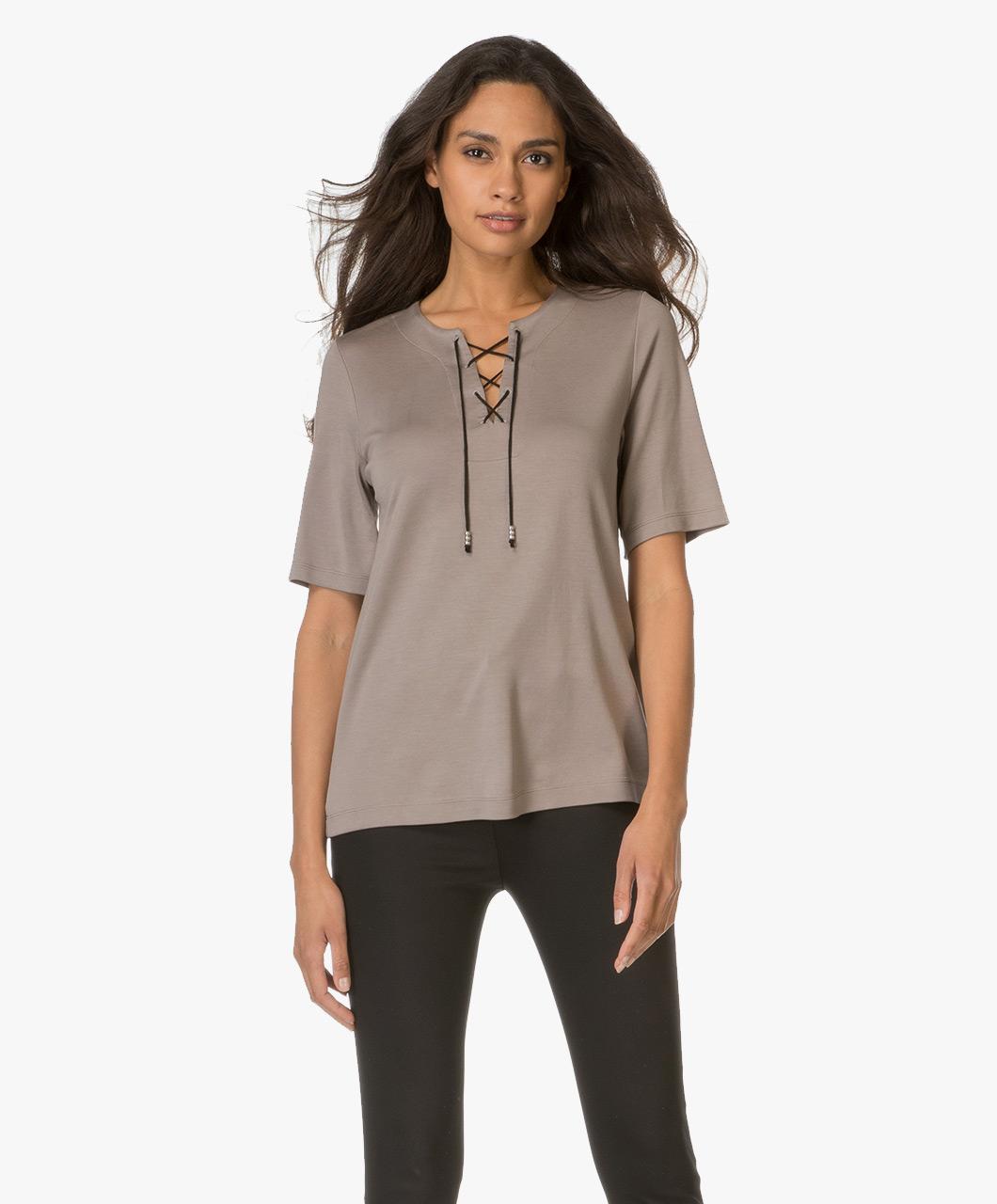 drykorn sahar t shirt with lacing taupe sahar 506254 14. Black Bedroom Furniture Sets. Home Design Ideas