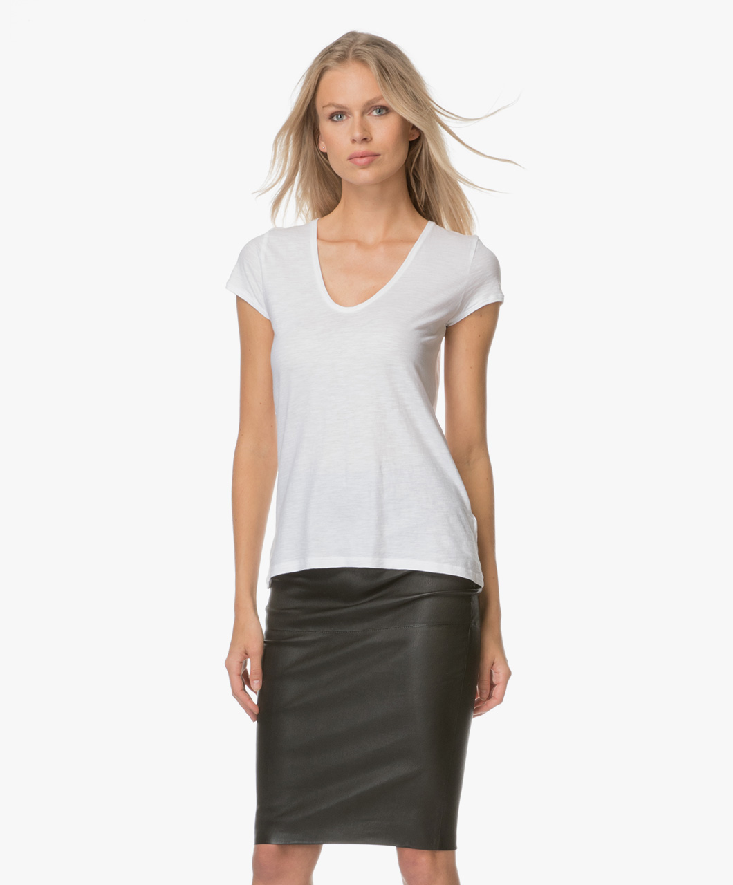 drykorn avivi jersey t shirt white avivi 506100 60. Black Bedroom Furniture Sets. Home Design Ideas