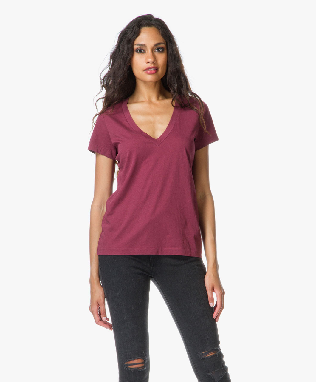 drykorn alina v neck t shirt wine red alina 500206 520 wine. Black Bedroom Furniture Sets. Home Design Ideas