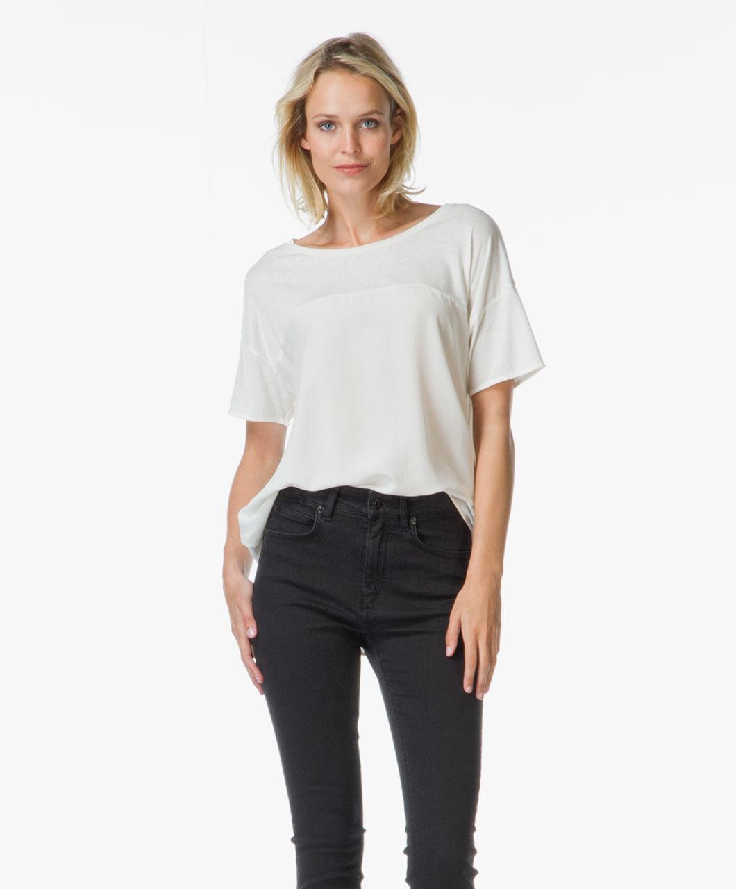 drykorn juna contrasting t shirt cream juna 502200 19. Black Bedroom Furniture Sets. Home Design Ideas