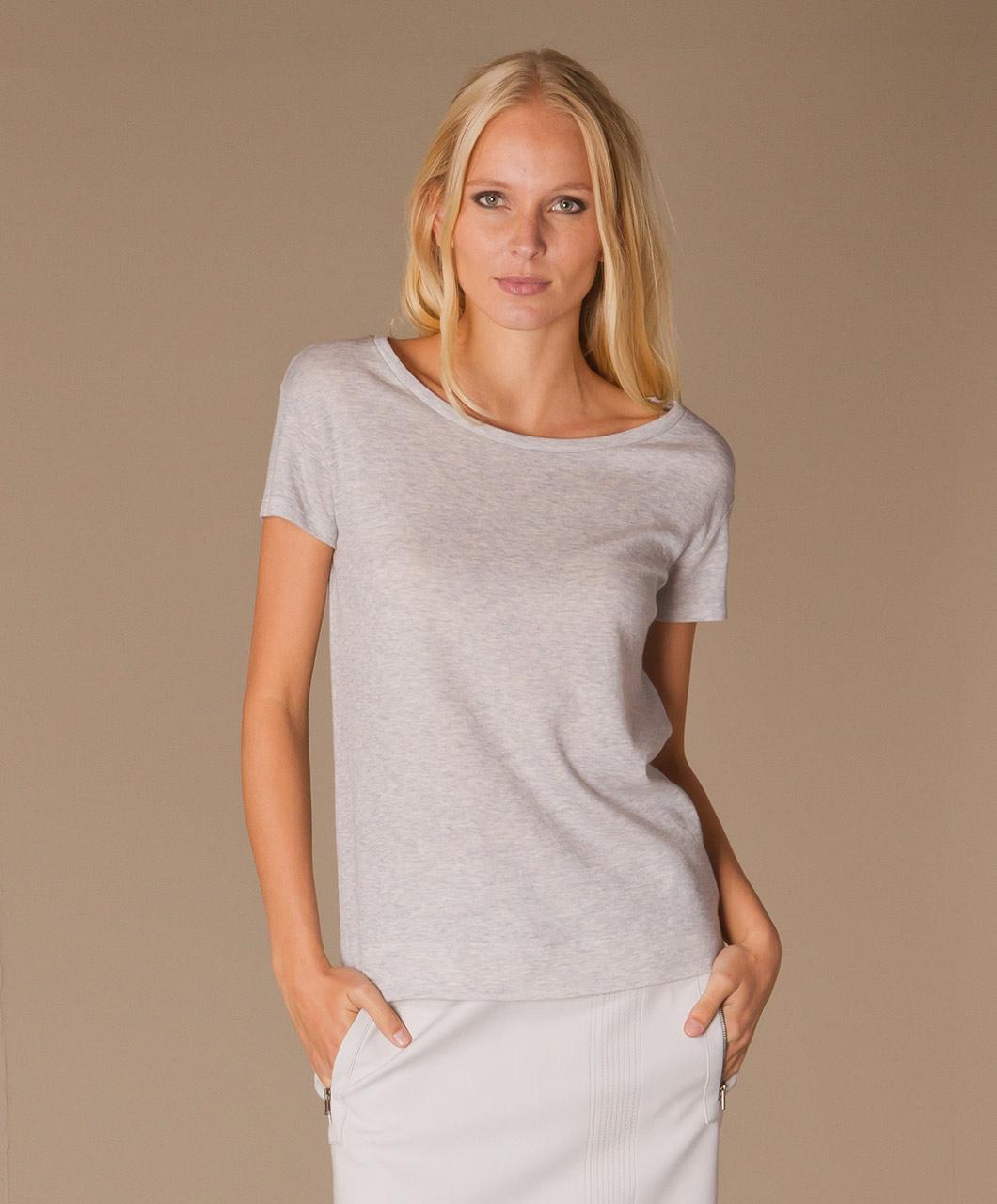 Majestic Cashmere T Shirt Ciel Chine Ecru H14 10 04