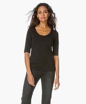 Filippa K Fine Lycra Scoop T-shirt - Black