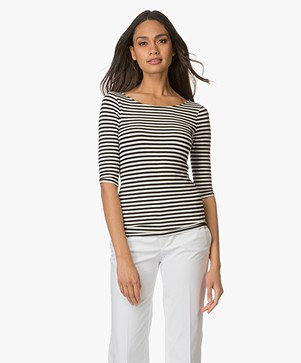 Theory Back Scoop Neck Stripe Tee Yorsia
