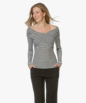 Theory Off Shoulder Top Kellay met Streep - Zwart/Wit