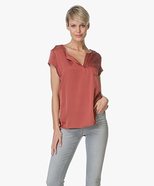 Repeat Silk Top with Split V-neck