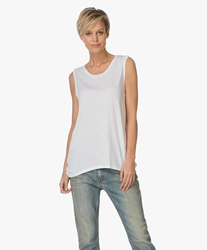 Closed Mouwloze Top in Viscose Jersey - Wit