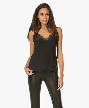 ANINE BING Deep V Lace Camisole - Black