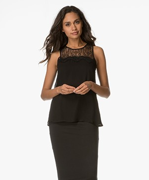 Indi & Cold Viscose Top with Lace - Black