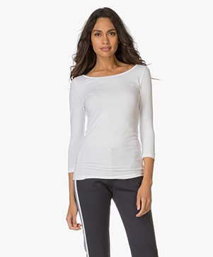Hugo Dannela Slim-fit T-shirt met Boothals - Wit