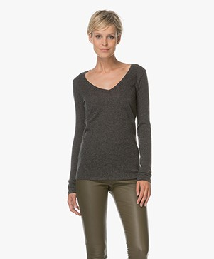 Majestic Cotton and Cashmere Long Sleeve - Dark Grey Melange