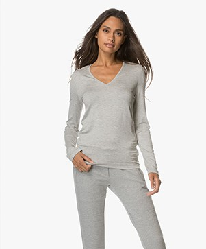 Joseph Deep V Long Sleeve - Grey Melange